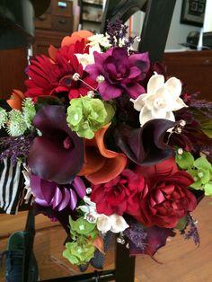 paper and silk flower brides bouquet