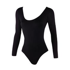 Danskin-Women's Scoop Neck Long Sleeve Leotard ($25) ❤ liked on Polyvore featuring tops, danskin, danskin tops, scoop neck top, scoopneck top and long sleeve tops