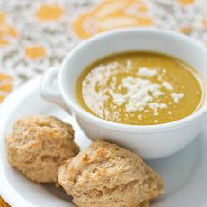 Curried Sweet Potato Soup with Goat Cheese Biscuits Recipe