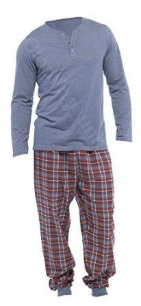 6079db3196 Mens Loungewear Brushed Check Flannel Cotton Pyjama Set Winter Warm Fleece  Pjs (M