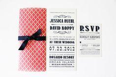 Coral White Navy Playbill Wedding Invitations
