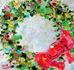 Original oil painting Christmas Wreath Abstract palette knife impressionism on canvas fine art by Karen Tarlton