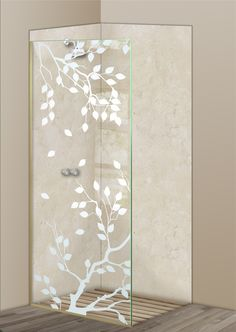 Shower Divider Panel featuring the Cherry Tree design in the 1D Positive Clear effect by Sans Soucie Art Glass. Design elements are sandblast etched on the top surface of smooth, clear glass, and are solid white shapes.  This effect is considered semi-private, as the clear glass background area of the glass, will vary by design.