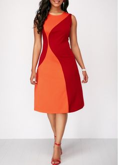 Color Block Sleeveless Round Neck Dress on sale only US$32.19 now, buy cheap Color Block Sleeveless Round Neck Dress at Rosewe.com