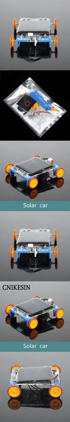 CNIKESIN DIY Kit Educational Solar Power Toys Car DIY Yellow Wheel Solar Energy Science and Technology Assembly Suite