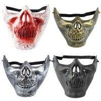 Wish | Halloween cool party kids scare humor children Half face skull mask plastic mask