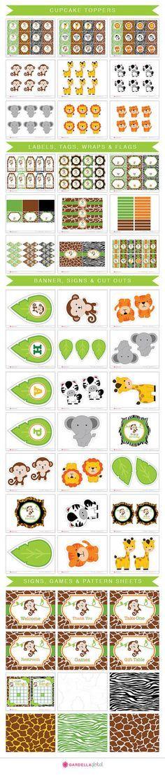 Jungle Invitation Safari invitation Monkey by GardellaGlobal