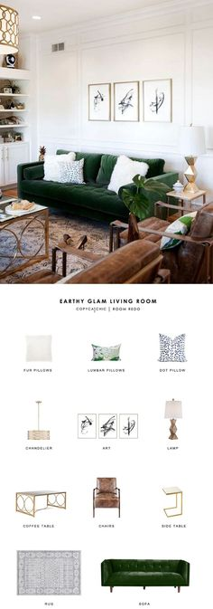 This earthy glam green living room by Suburban B get's recreated for less by copycatchic luxe living for less budget home decor and design room redos