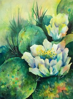 Watercolor of Southwest Cactus with White Flowers  - Original Painting by Colorado Artist Martha Kisling