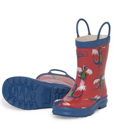Picture of Hatley Rain Gear, Kids Boots, Kids Decor, Rubber Rain Boots, Dragon, How To Wear, Shoes, Interiors, Fashion