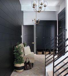 Black built-ins and brick flooring in this beautiful mud room. House Design, Mudroom, Home, Ship Lap Walls, Custom Homes, Becki Owens, Black Walls, Brick Flooring, Brick Look Tile