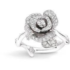ROSE DIOR BAGATELLE RING, SMALL MODEL, IN 18K WHITE GOLD AND DIAMONDS ❤ liked on Polyvore featuring jewelry, rings, diamond jewelry, rose jewellery, 18k ring, rose jewelry and 18 karat white gold ring