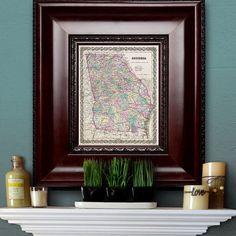 Antique Map of the State of Georgia ca 1855 by PortofPrints