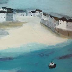 Port Isaac by Hannah Cole. Massive range of art prints. Quality UK framing & Money Back Guarantee! Seaside Pictures, Framing Canvas Art, Holidays In Cornwall, Port Isaac, Yellow Houses, Z Arts, Happy Paintings, Naive Art, Simple Art