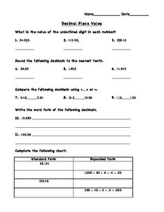 Decimal Place Value Review worksheet that can be used as homework, morning work, or extra review for students. Aligned with fifth grade common core standards.   Keep an eye out for an entire review packet coming soon complete with a unit's worth of morning work and homework on decimal place value review.