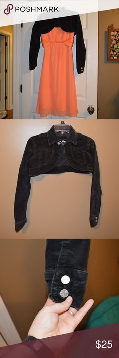 YOUNIQUE Cropped  black Jacket **Dress Sold Seperately** (style option) black jean material Size Small  worn few times Feel free to make an offer! Add to BUNDLE! Smoke free home Younique Jackets & Coats