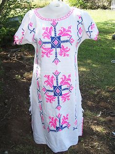 Vtg Embroidered Hippie Festival Boho 70s Mexican Dress Wedding Cotton Bright S vintage great for day of the dead costume | eBay
