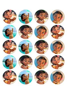 Baby Moana Inspired Cupcake Toppers. Cupcake Edible Icing