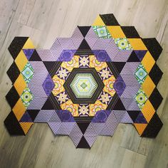 Rosette 2 finished  #thenewhexagonmillefiorequiltalong #handmade #epp #englishpaperpiecing #tulapinkfabrics #tulapink #quilting