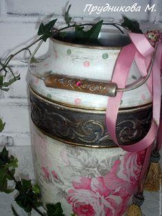"""Купить Ваза-бидон """"Розы для Юлии"""" - разноцветный, бидон, бидончик, розы, винтаж, винтажный стиль"""