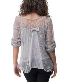 Gray Sheer Knit Bow Layered Top//  I want a shirt with the bow in the back just in plus size!!
