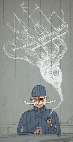 By Joe Todd-Stanton, nautical illustration Art And Illustration, Illustrations Posters, Pirate Illustration, Street Art, Cool Art, Concept Art, Graffiti, Character Design, 3d Character