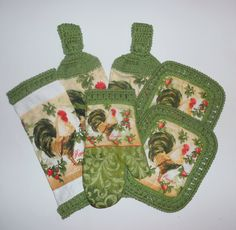 Rooster Kitchen Set, Green Kitchen Decor, Hanging Towels, Pot Holders, Dish Cloth, Oven Mitt, Crochet Kitchen Towel Set