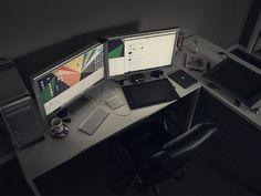 my workspace by Eddie Lobanovskiy MacPro ram 30 Apple Cinema Wacom Intous 5 Wacom Cintiq 21 iPad gen Bose on ear iPhone 5 headphones Office Setup, Desk Setup, Gaming Setup, Desk Layout, Workspace Design, Office Workspace, Kaizen, Mac Desk, Home Office