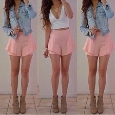 denim jacket, white crop top and pale pink shorts Country Music Outfits, Country Concert Outfit, Instagram Outfits, Summer Outfits Women, Spring Outfits, Cool Girl Style, My Style, Estilo Lady Like, Teen Fashion