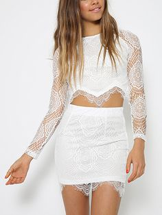 White Lace Me Up Two-piece Suit