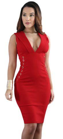$27.99 Hualong Deep V Neck Midi Red Bodycon Dress Order here →bit.ly/2rotgFS  #dress #club #party #fashion #girl  #style #beauty #wedding #women #stylofashion  #fashion #dress #love #makeup #fashionista #fashionworld #summer #happy