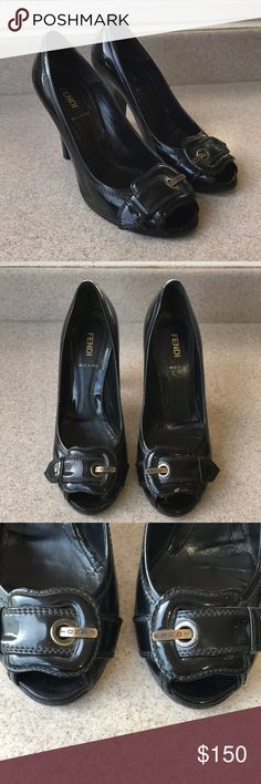 Fendi B Buckle women's patent leather heels Fendi B buckle women's heels in size 38.5! Made in Italy and in great condition! Heels originally cost $600 and are a very popular fendi style!! patent leather heels with a leather sole and the b buckle at the toe of the heels! Fendi Shoes Heels