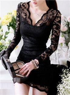 $ 17.59 Low Cut Long Sleeves Lace Sheath Dress