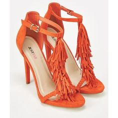 Justfab Heeled Sandals Loralei ($40) ❤ liked on Polyvore featuring shoes, sandals, orange, platform sandals, braided sandals, fringe heel sandals, fringe high heel sandals and fringe sandals