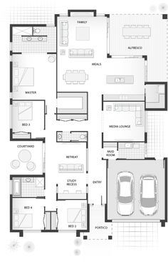 From 4 Bedrooms, Bathrooms, 2 Car Garage. The Penn boasts spacious zones for living, entertaining and relaxing. New House Plans, Dream House Plans, Small House Plans, House Floor Plans, Workout Room Decor, Workout Room Home, Home Design Floor Plans, Plan Design, House Blueprints