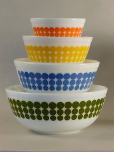 Pyrex New Dots Mixing Bowls 1960s I have the yellow and orange bowls wish I could find the blue and green ones