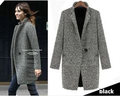 #Cappottodonna lungo spigato,Women Lapel Trench Faux Wool Cashmere Long #Coat