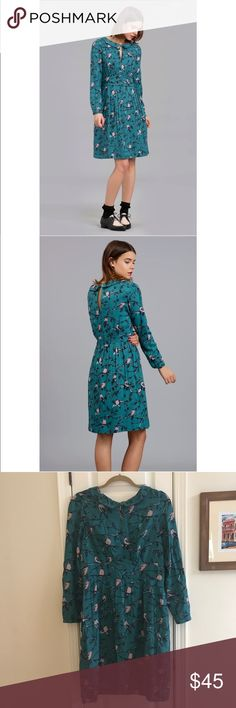ModCloth Emily and Fin Cute Bird L/S Dress Size L Absolutely adorable! Fall perfection. ModCloth's Emily and Fin long sleeve bird print dress with front keyhole. Cotton blend. Excellent pre-owned condition. 😍 Modcloth Dresses