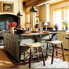 gray green kitchen island