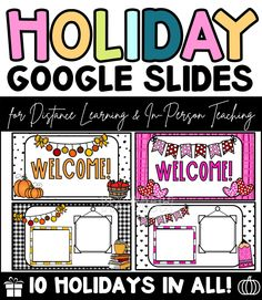 Do you need PowerPoint or Google Slide Templates for your classroom or distance learning? Stay festive with these bright and beautiful Holiday Slide Templates for your classroom. #holidayclassroom #teacher #classroom Fall Classroom Decorations, Winter Decorations, Seasonal Decor, Meet The Teacher Template, Inspired Learning, High School Classroom, Spelling And Grammar, Learning Tools, Teacher Resources