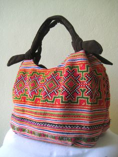 Hmong Ethnic Boho Hobo Embroidered Suede Handbag-it's a combination of ethnic fabric and artisan handiwork to make it contemporary..