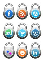 Lock style social media icons : Inside is a unique premium icon set of 11 social media icons crafted out from the novel fasten locks.