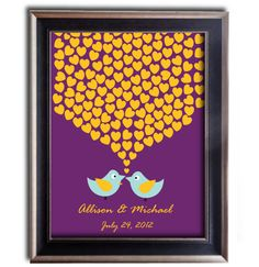 Wedding sign in book with royal purple and yellow orange & 60s blue - 20 X 30 Wedding Tree Guest book Alternative. $48.00, via Etsy.