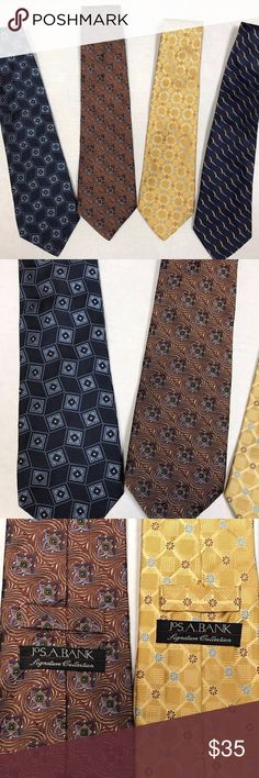 """4 - Jos A Banks 100% Silk Italian Ties 58-59"""" Jos A Banks 100% Silk Italian Ties 58-59"""" Lot of 4 You are purchasing for Joseph a Banks 100% silk ties. Three of the ties are made in Italy and one of the ties is made in the United States. The ties are approximately 58 to 59 inches in length. Jos A Banks Accessories Ties"""
