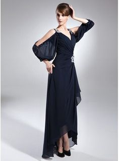 A-Line/Princess V-neck Asymmetrical Chiffon Mother of the Bride Dress With Beading Cascading Ruffles (008005761) - JJsHouse