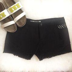 Black Distressed Cutoff Shorts Black shorts with distressed and stud details. Slight stretch, size 13 junior which is similar to a size 8. Brand new with tags. Shorts