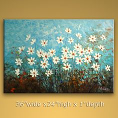 Beautiful Original Impressionist Palette Knife Artist Oil Painting For Bed Room Flower. In Stock $178 from OilPaintingShops.com @Bo Yi Gallery/ ops7037