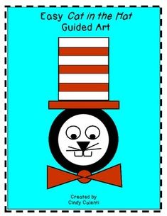 This VERY easy Cat in the Hat guided art activity is perfect for students kinder thru 3rd grade.  The entire drawing is done with circles, rectangles, triangles, and curved lines.  The completed pictures are ADORABLE and quite bulletin board worthy.