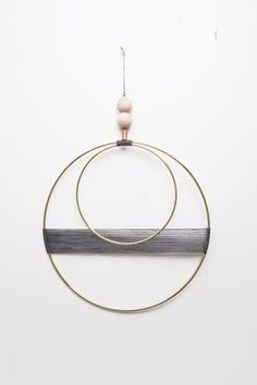 Double Circle With Off Charcoal Thread Wall Hanging - Young & Able - 1