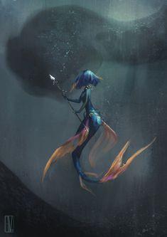 Art of Giulia Valentini Siren Mermaid, Mermaid Art, Tattoo Mermaid, Vintage Mermaid, Mermaid Tails, Fantasy Mermaids, Mermaids And Mermen, Real Mermaids, The Beast